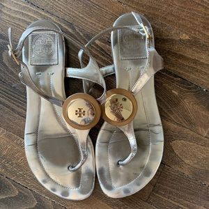TORY BURCH Leather Gold Metallic Sandals, Sz 7